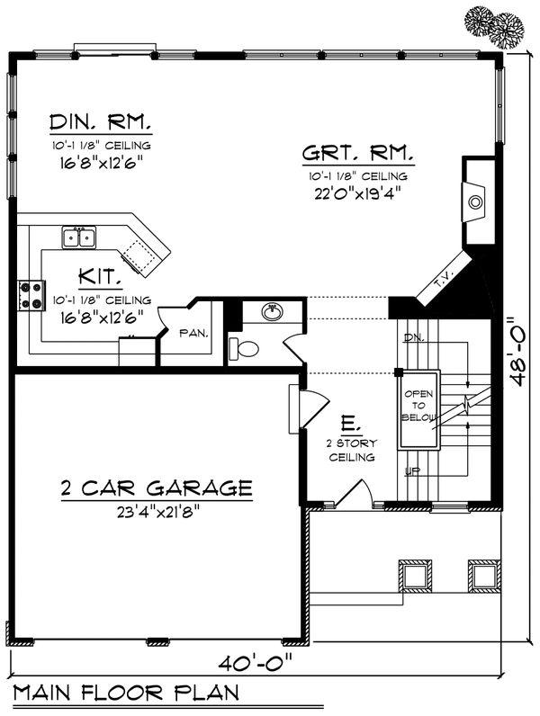 Traditional Floor Plan - Main Floor Plan #70-1201