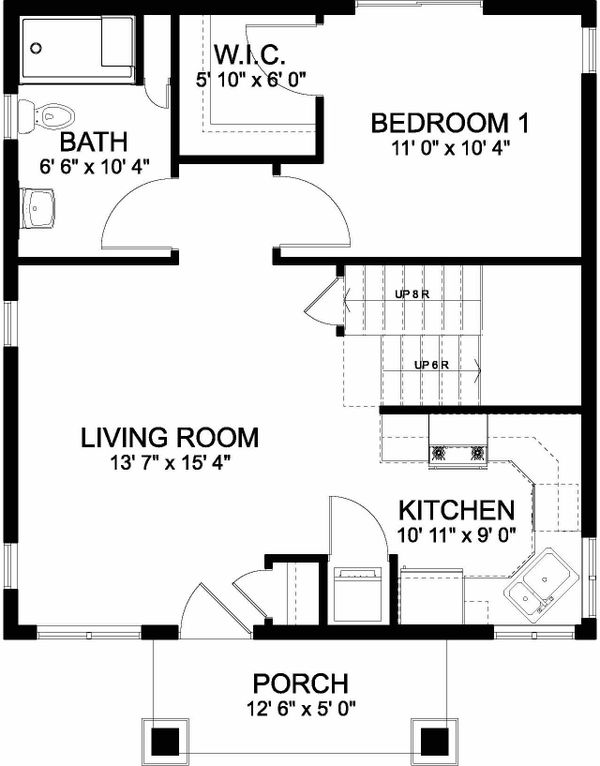 Bungalow Floor Plan - Main Floor Plan Plan #126-208