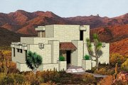 Adobe / Southwestern Style House Plan - 3 Beds 2 Baths 1462 Sq/Ft Plan #116-191 Exterior - Front Elevation