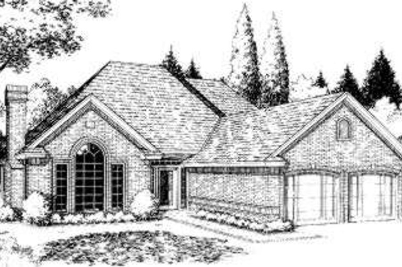 Traditional Style House Plan - 3 Beds 2.5 Baths 1583 Sq/Ft Plan #310-152 Exterior - Front Elevation