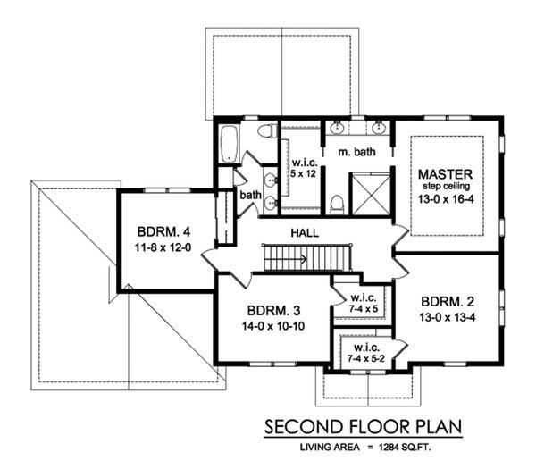Traditional Floor Plan - Upper Floor Plan Plan #1010-245