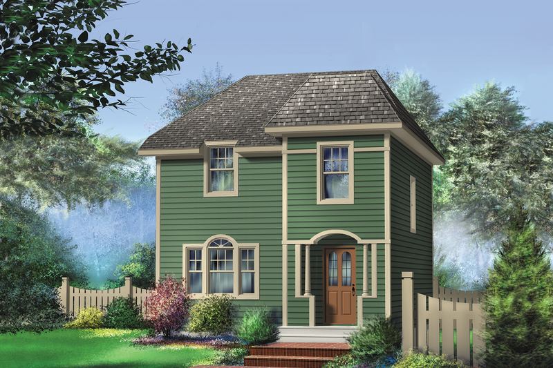 Country Style House Plan - 3 Beds 1 Baths 1264 Sq/Ft Plan #25-4728 Exterior - Front Elevation