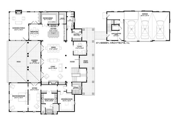 House Design - Country Floor Plan - Main Floor Plan #928-1