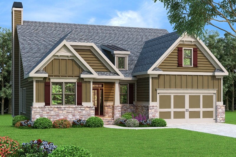 Craftsman Style House Plan - 3 Beds 2 Baths 2084 Sq/Ft Plan #419-229 Exterior - Front Elevation