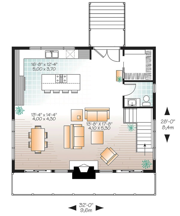 Contemporary Style House Plan - 3 Beds 2.5 Baths 1792 Sq/Ft Plan #23-2632 Floor Plan - Main Floor Plan