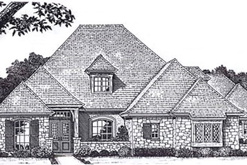 European Style House Plan - 4 Beds 3.5 Baths 3490 Sq/Ft Plan #310-940 Exterior - Front Elevation