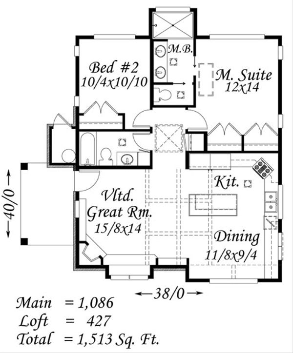 Tudor Floor Plan - Main Floor Plan Plan #509-25