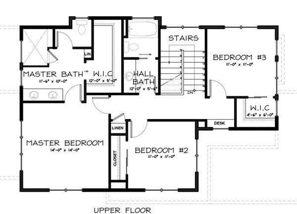 Craftsman Floor Plan - Upper Floor Plan #895-2