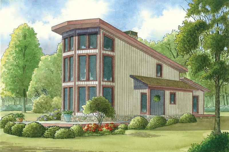Contemporary Style House Plan - 2 Beds 2 Baths 1098 Sq/Ft Plan #923-6