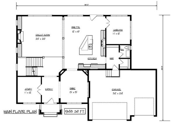 Craftsman Floor Plan - Main Floor Plan Plan #320-493