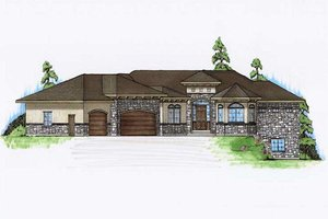 Mediterranean Exterior - Front Elevation Plan #5-357