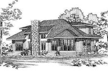 House Blueprint - Modern Exterior - Rear Elevation Plan #72-140