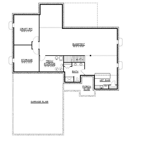 Ranch Floor Plan - Lower Floor Plan Plan #1064-28