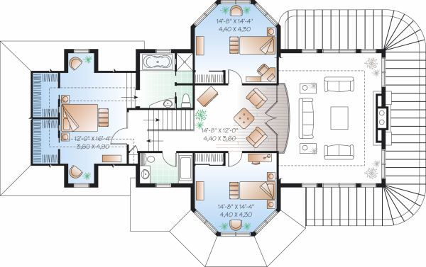 Traditional Floor Plan - Upper Floor Plan Plan #23-808
