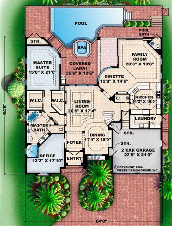 Mediterranean Floor Plan - Main Floor Plan Plan #27-355