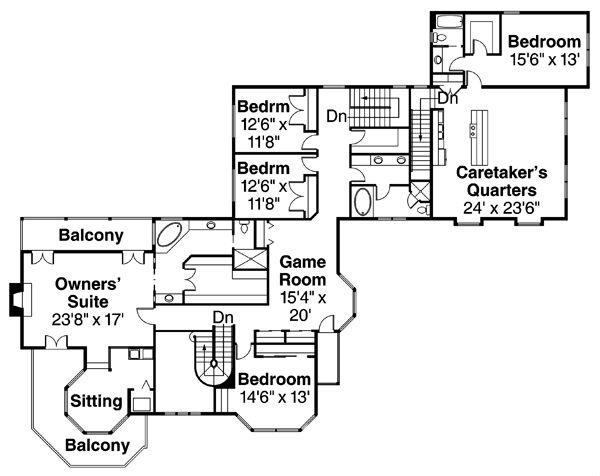 Farmhouse Floor Plan - Upper Floor Plan Plan #124-111