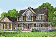 Farmhouse Style House Plan - 4 Beds 2.5 Baths 1840 Sq/Ft Plan #11-119 Exterior - Front Elevation