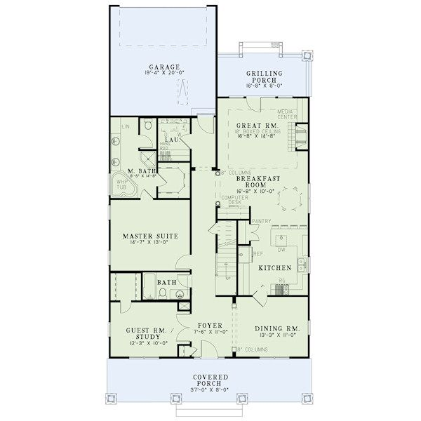 Bungalow Floor Plan - Main Floor Plan Plan #17-2407