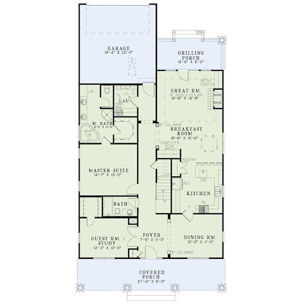 Bungalow Floor Plan - Main Floor Plan #17-2407