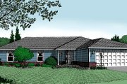 Ranch Style House Plan - 3 Beds 2 Baths 1841 Sq/Ft Plan #11-107 Exterior - Front Elevation