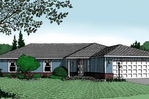 Ranch Exterior - Front Elevation Plan #11-107