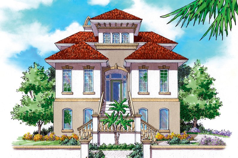 Mediterranean Style House Plan - 2 Beds 2.5 Baths 1794 Sq/Ft Plan #930-149 Exterior - Front Elevation