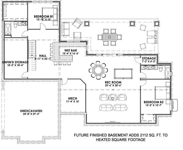 Farmhouse Floor Plan - Lower Floor Plan Plan #1069-17