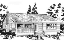 House Blueprint - Cabin Exterior - Front Elevation Plan #18-162