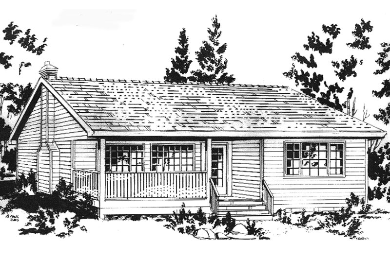 Cabin Exterior - Front Elevation Plan #18-162