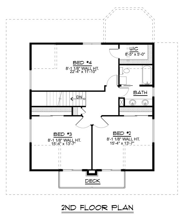Craftsman Floor Plan - Upper Floor Plan Plan #1064-15