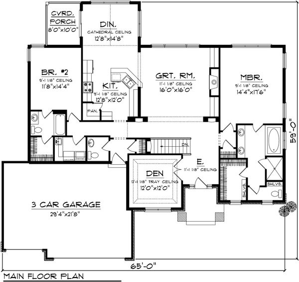 Ranch Floor Plan - Main Floor Plan Plan #70-1085