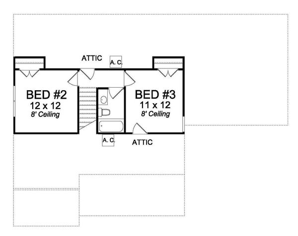 Farmhouse Floor Plan - Upper Floor Plan Plan #513-2075
