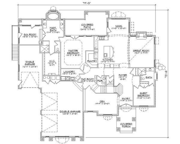 European Floor Plan - Main Floor Plan Plan #5-401