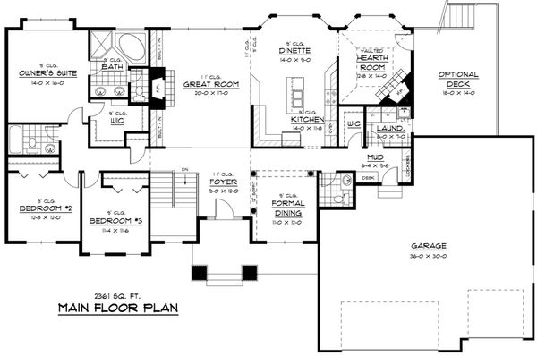 Craftsman Floor Plan - Main Floor Plan Plan #51-258