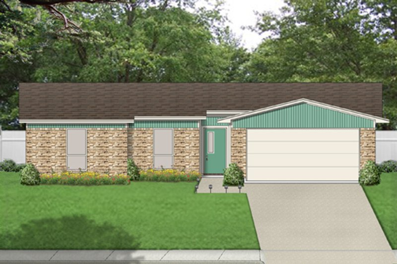 Ranch Exterior - Front Elevation Plan #84-516