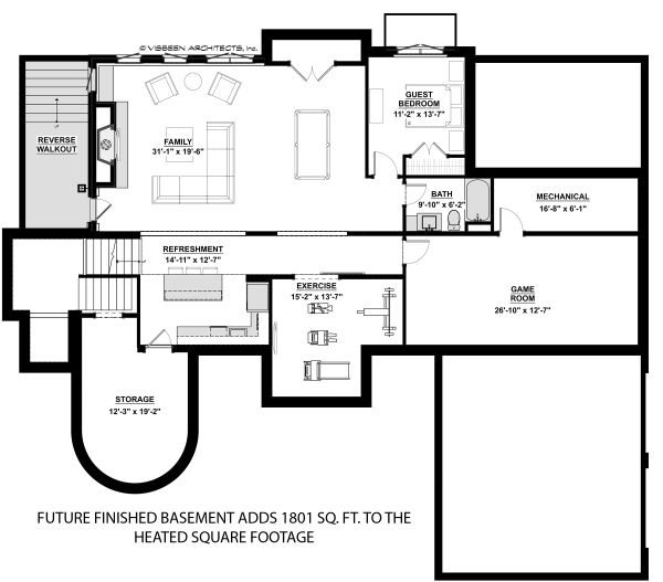 Architectural House Design - Traditional Floor Plan - Lower Floor Plan #928-331