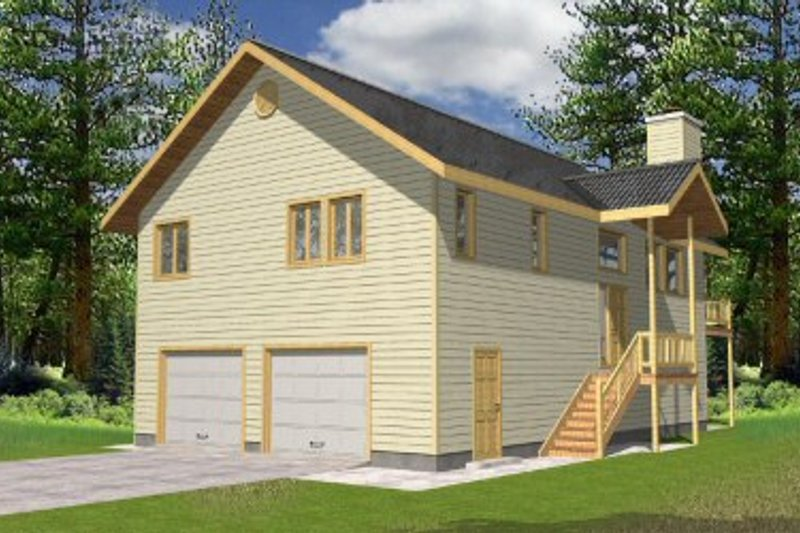 Modern Style House Plan - 3 Beds 3 Baths 1811 Sq/Ft Plan #117-129 Exterior - Front Elevation