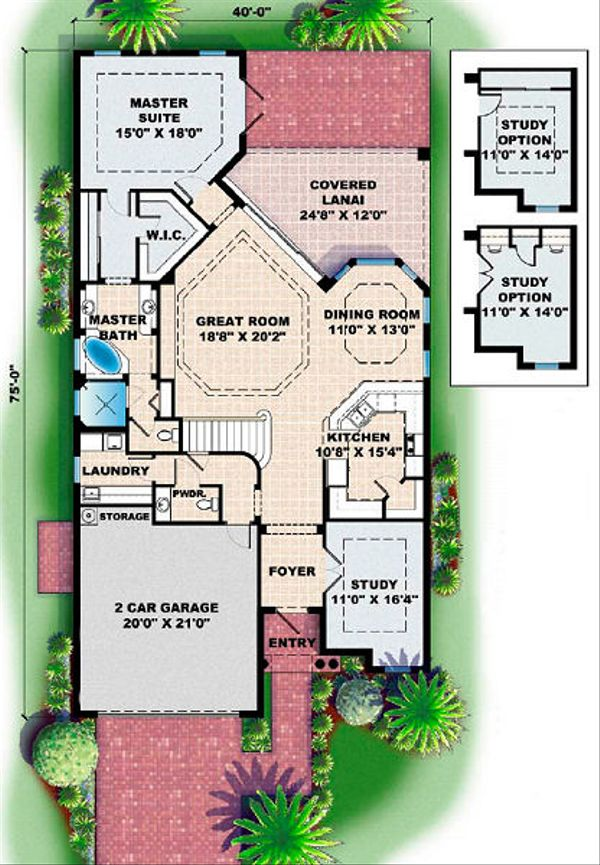 Mediterranean Floor Plan - Main Floor Plan Plan #27-351