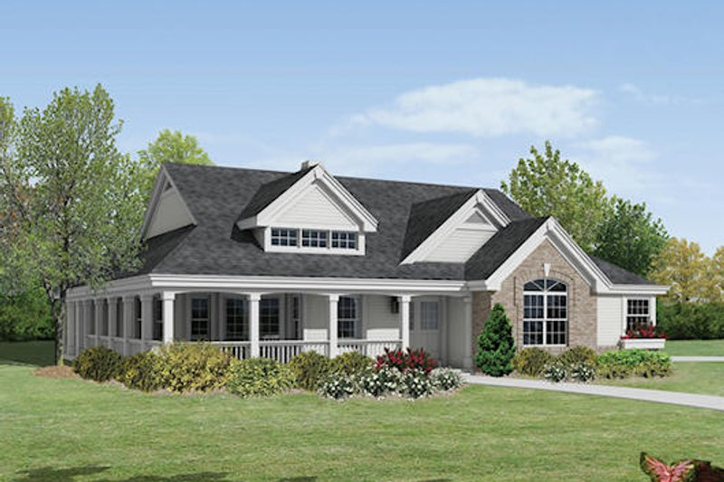 Farmhouse Style House Plan - 2 Beds 2 Baths 1646 Sq/Ft Plan #57-377 Exterior - Front Elevation