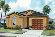 Mediterranean Style House Plan - 3 Beds 2 Baths 1281 Sq/Ft Plan #420-105 Exterior - Front Elevation