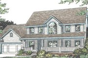 Traditional Style House Plan - 3 Beds 2.5 Baths 1960 Sq/Ft Plan #20-2028 Exterior - Front Elevation