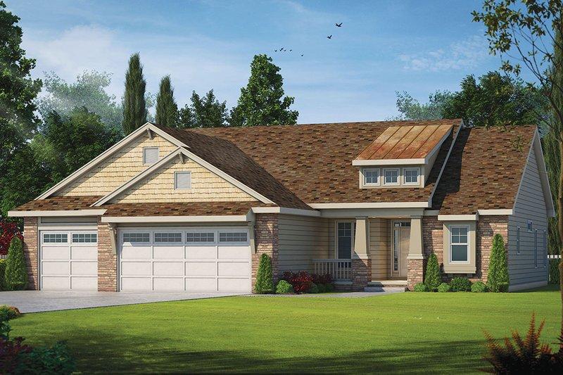 Architectural House Design - Craftsman Exterior - Front Elevation Plan #20-2179