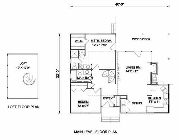 Country Style House Plan - 2 Beds 2 Baths 1018 Sq/Ft Plan #116-122 Floor Plan - Main Floor Plan