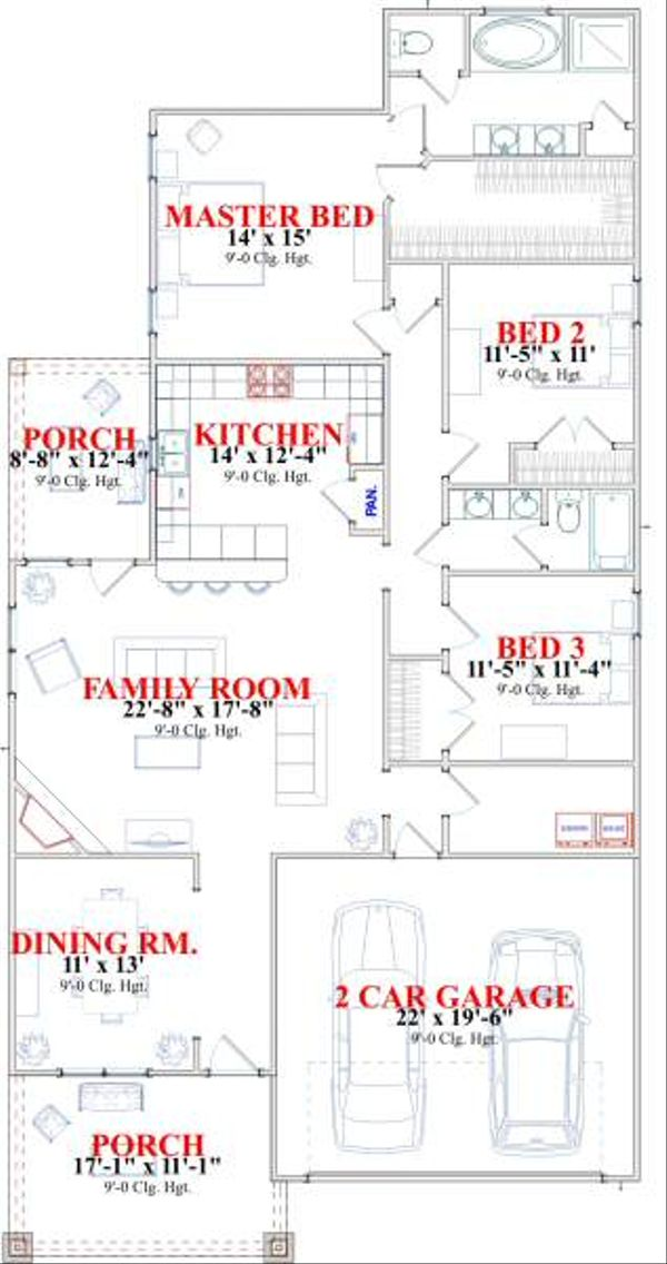 Farmhouse Floor Plan - Main Floor Plan Plan #63-140