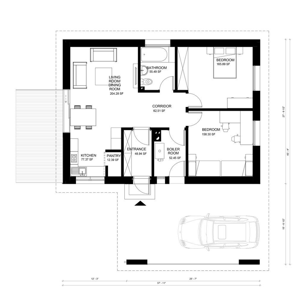 Modern style house plan 2 beds 1 baths 838 sq ft plan 906