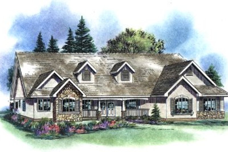 Traditional Style House Plan - 4 Beds 3 Baths 2630 Sq/Ft Plan #18-1059 Exterior - Front Elevation