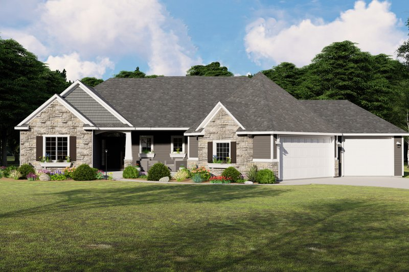 Dream House Plan - Craftsman Exterior - Front Elevation Plan #1064-83