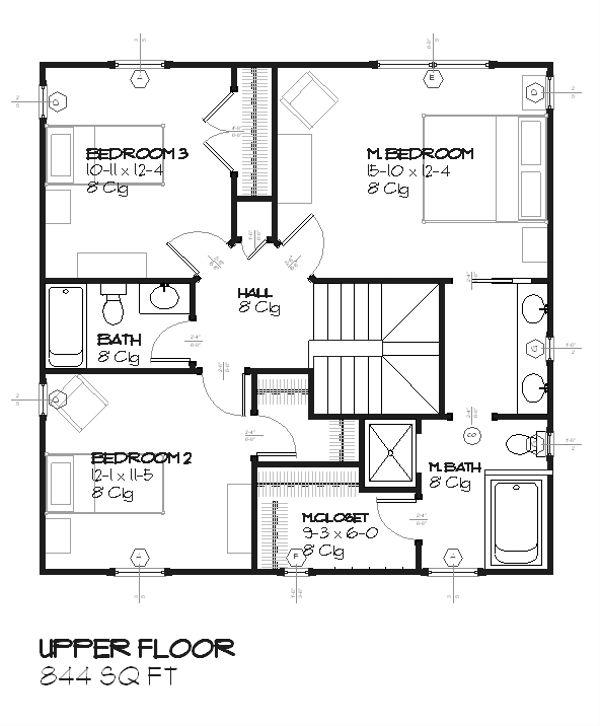 Colonial Floor Plan - Upper Floor Plan #901-75
