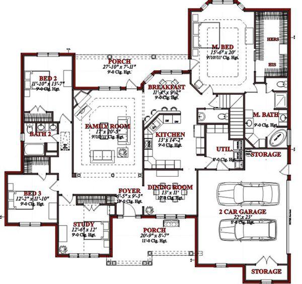 Traditional Floor Plan - Main Floor Plan Plan #63-198