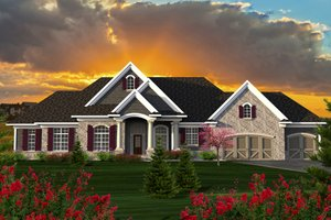 Ranch Exterior - Front Elevation Plan #70-1176